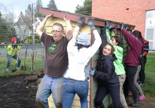 Volunteers at garden